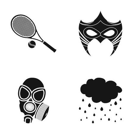 costume ball: Tennis racket, mask and other web icon in black style.gas mask, precipitation icons in set collection.