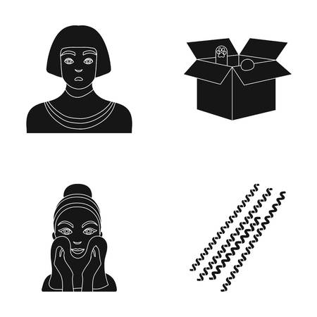 Egyptian, box with animals and other icon in black style. facial treatment, pasta icons in set collection. Illustration