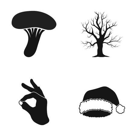 きのこ、枯れた木と黒のスタイルで他のアイコン。OK のジェスチャー、サンタ クロースの帽子のアイコン セットのコレクションです。