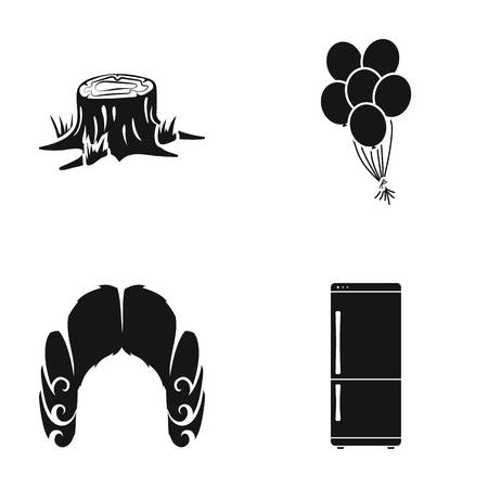 black wigs: Stump, balloons and other web icon in black style. wig, fridge icons in set collection.