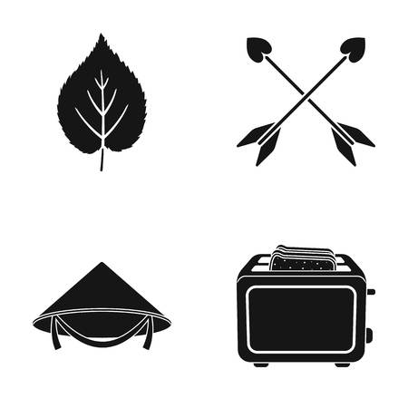 Leaf, arrows and other web icon in black style. Chinese hat, toaster icons in set collection. Illustration