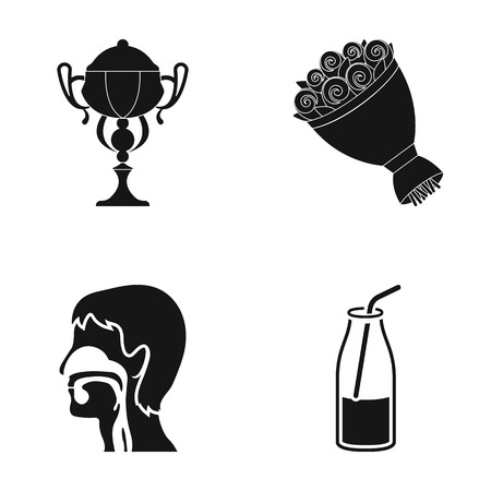 Cup, bouquet of flowers and other  icon in black style. human esophagus, drink icons in set collection. Ilustracja