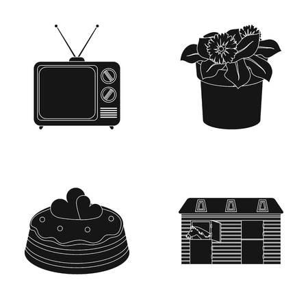 TV, bloempot en ander pictogram in zwarte stijl.cake, stabiele pictogrammen in set collectie.