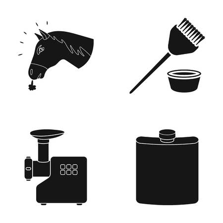 meat  grinder: The head of a horse, a brush and other web icon in black style.a meat grinder, a jar icons in set collection.