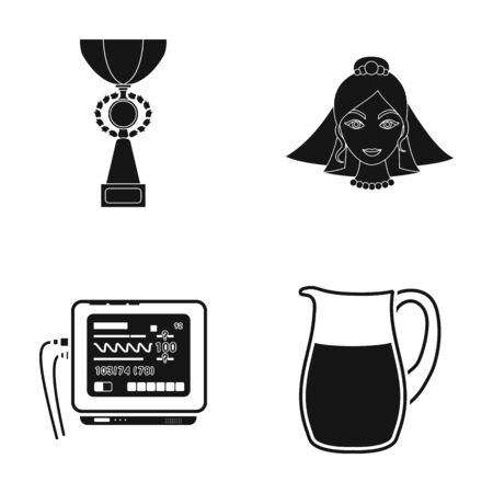 Cup, bride and other  icon in black style. medical device, pitcher icons in set collection.