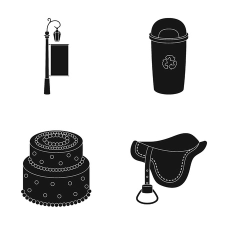 Post with advertising, trash can and other web icon in black style. cake, saddle icons in set collection.