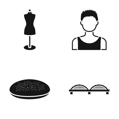 Mannequin, boy and other web icon in black style. bread, bridge icons in set collection. Illustration