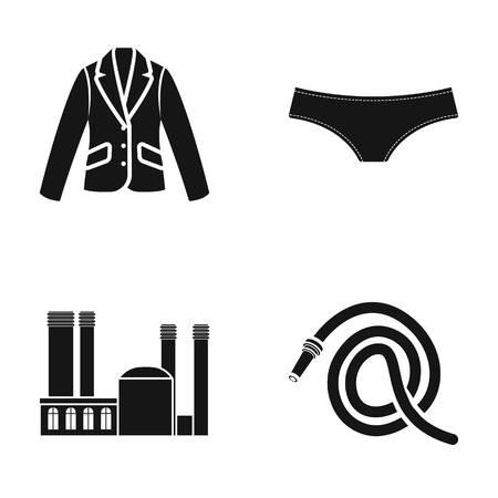 Podolsk, fonderie et autre icône Web dans un style noir. usine, icônes de tuyau dans la collection de jeu. Banque d'images - 82183779