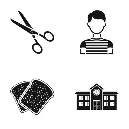 post office building: Scissors, boy and other web icon in black style.bread, building icons in set collection. Illustration