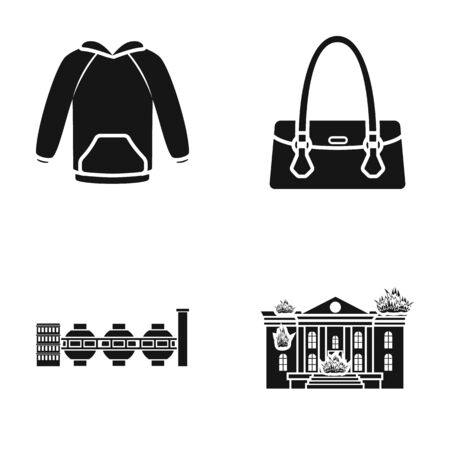 Clothing, womens handbag and other web icon in black style. factory, burning building icons in set collection.