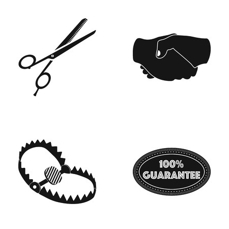 grab: Scissors, handshake and other web icon in black style. trap, label icons in set collection. Illustration