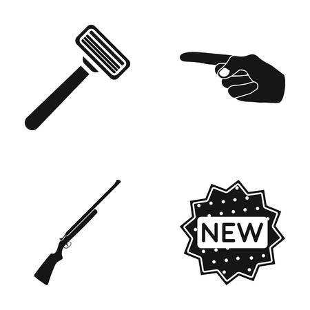 A razor, an index gesture and other web icon in black style. a gun, a label icons in set collection. Stock Vector - 82183791