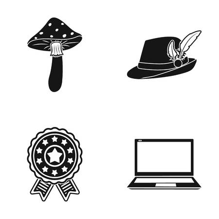 Amanita, hat with feather and other  icon in black style. emblem of hero, laptop icons in set collection. Illustration