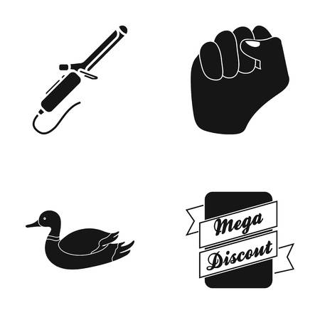 Plait, fist and other  icon in black style. duck, Mega discount icons in set collection.