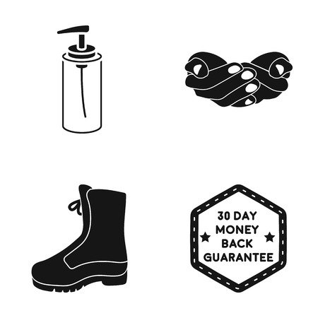 Liquid soap, palms and other  icon in black style. boots, guaranteed return icons in set collection.