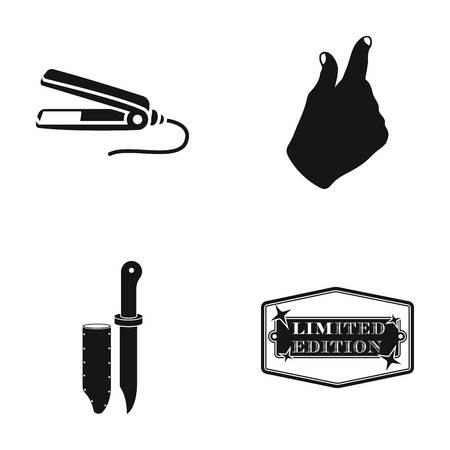 머리, 손 제스처 및 검은 색 바탕에 다른 아이콘에 대 한 컬. 커버, 한정판 아이콘 세트 컬렉션에서 칼. 일러스트