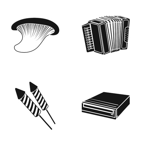 Mushroom, accordion and other  icon in black style Illustration