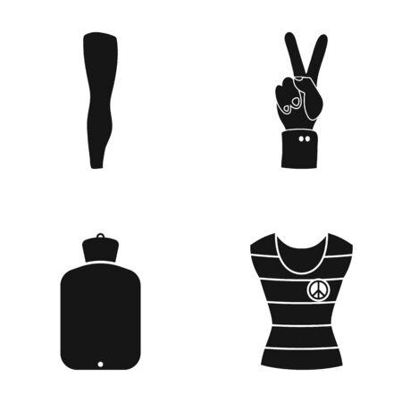 Been, tin en ander pictogram in zwarte stijlwarmer, overhemdspictogrammen in vastgestelde inzameling.