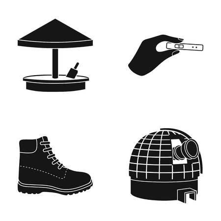 Sandbox, zwangerschapstest en ander pictogram in zwarte stijl Stock Illustratie