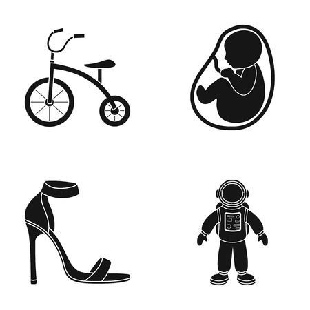 Kinderfahrrad, Kinderfrucht und andere Ikone in der schwarzen Art Standard-Bild - 82180746
