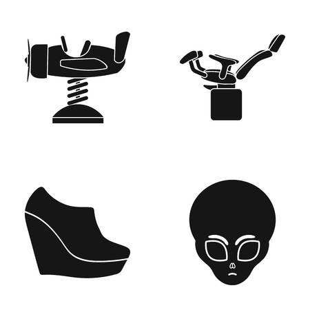 Attractie voor kinderen, gynaecologische stoel en ander pictogram in zwarte stijl