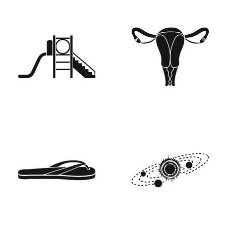 Kinderglijbaan, baarmoeder en ander pictogram in zwarte stijl