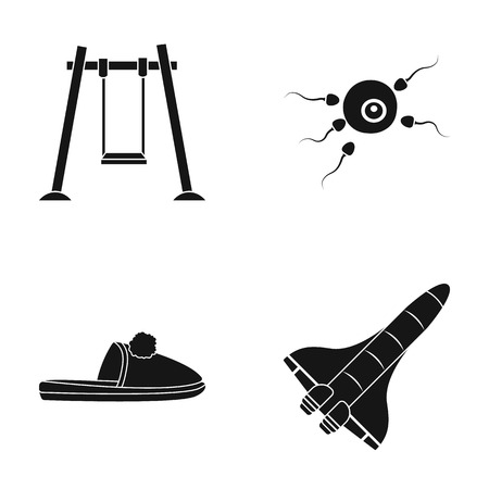 Swings, fertilization and other  icon in black style