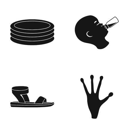 Kinderzwembad, een kind voeden en een ander pictogram in zwarte stijl Stock Illustratie
