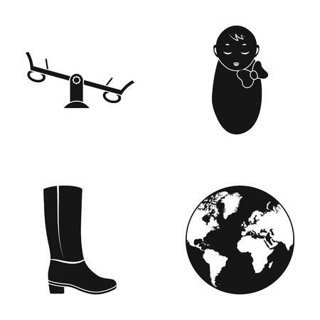 Swing, baby en andere pictogram in zwarte stijl. boot, planeet Aarde iconen in set collectie.