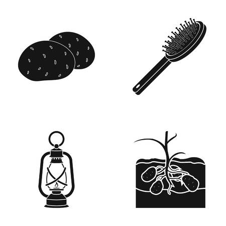 Potatoes, comb and other  icon in black style