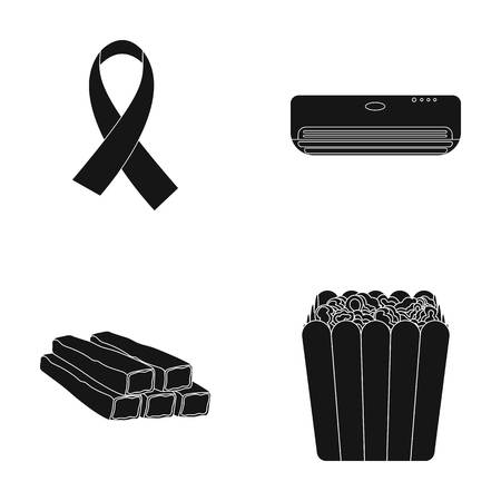 What, air conditioning and other  icon in black style. crabs, popcorn icons in set collection.