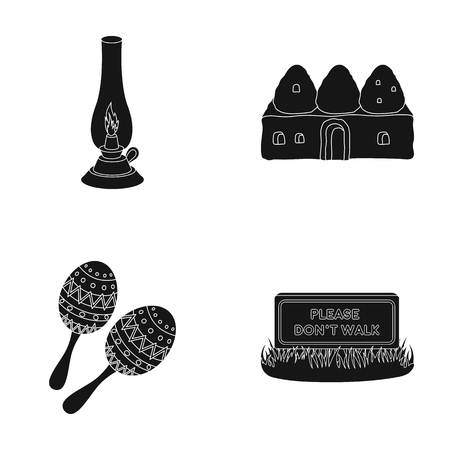 do: Lamp, construction and other  icon in black style. Maracas, please do not walk icons in set collection.