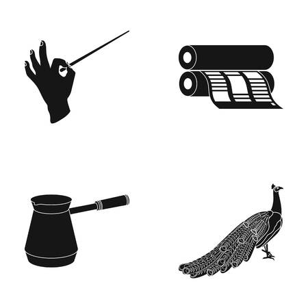 Conductors baton, printing house and other  icon in black style.coffee maker, peacock icons in set collection. Illustration