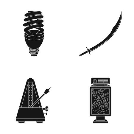 Economical lamp, scimitar and other  icon in black style. metronome, banner icons in set collection.