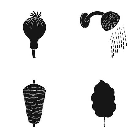 Poppy head, shower and other  icon in black style. meat on a spit, sweet cotton icons in set collection.