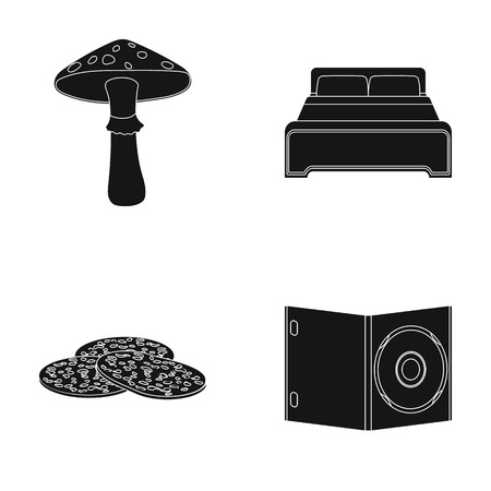 Amanita, bed and other  icon in black style. sausage, a box for a disk SD icons in set collection.