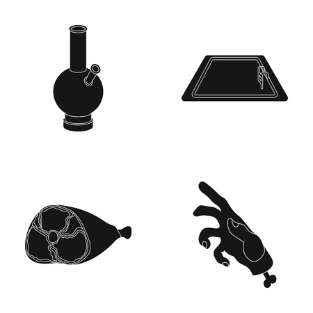 special effects: Hookah, pool and other web icon in black style.ham, mechanical arm icons in set collection. Illustration