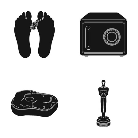 corpse: Corpse, safe and other  icon in black style. meat steak, figurine icons in set collection. Illustration