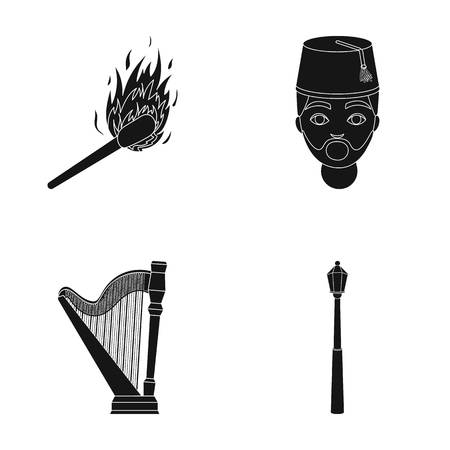 Matches, Turks and other  icon in black style.Harp, Street Lamp icons in set collection.