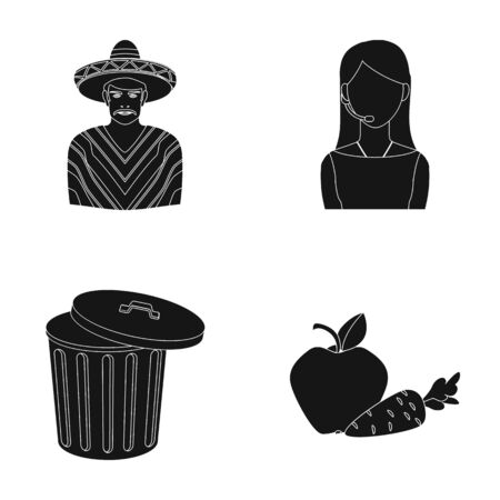Mexican, girl telephone operator and other  icon in black style. garbage can, apple and carrot icons in set collection.