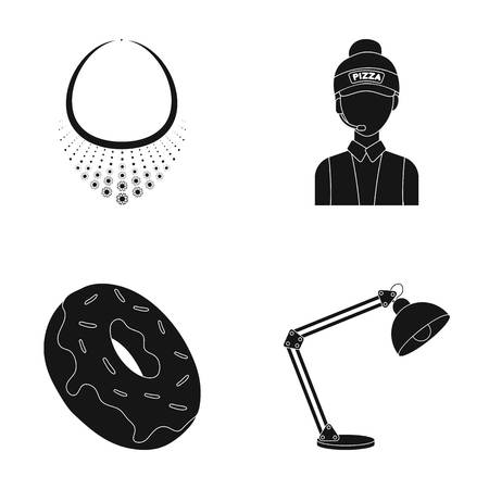 Necklace, pizza seller and other  icon in black style. chocolate donut, table lamp icons in set collection.