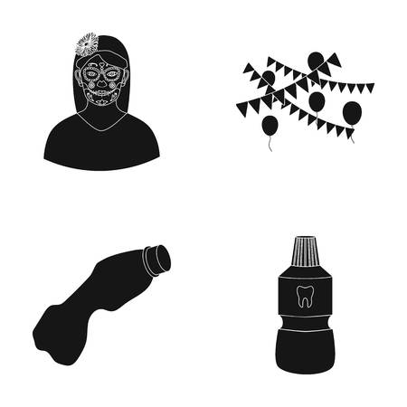 Tattoo on face, holiday and other  icon in black style. garbage, dental elixir icons in set collection. Illustration