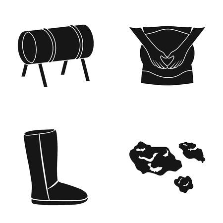 Attractie van kinderen, zwangerschap en andere pictogram in zwarte style.shoes, garbage icons in set collection. Stock Illustratie