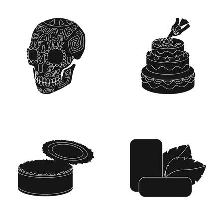 Skull, cake and other  icon in black style. can, gum icons in set collection. Illustration