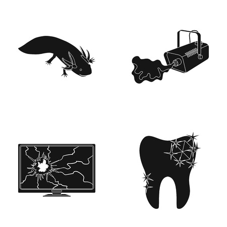 Exotic animal, smoke and other web icon in black style. broken monitor, tooth icons in set collection.
