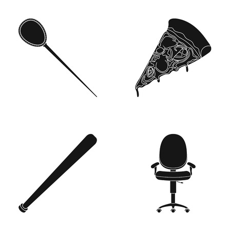 piece of furniture: Hairpin, pizza and other  icon in black style. baseball bat, chair icons in set collection.