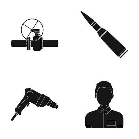 게이트 밸브, 척 및 기타 스타일에서 검은 style.drill, 남성 컬렉션에있는 아이콘 컬렉션. 일러스트