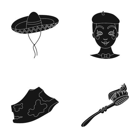 Sombrero, Frenchman and other  icon in black style. rag, toothbrush icons in set collection.