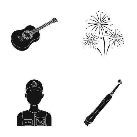 salute: Guitar, salute and other  icon in black style. ecologist, toothbrush icons in set collection. Illustration