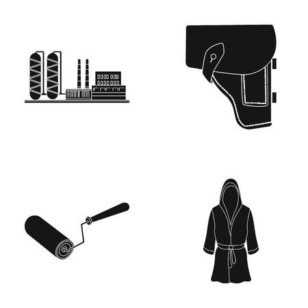 Plant, holster and other  icon in black style.construction roller, sportsmans robe icons in set collection.